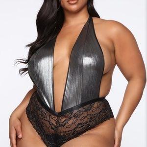Plus Size Lingerie Halter Neck Teddy Bodysuit